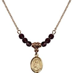 18-Inch Hamilton Gold Plated Necklace with 4mm Purple February Birth Month Stone Beads and Saint Philip the Apostle Charm. 18-Inch Hamilton Gold Plated Necklace with 4mm Amethyst Birthstone Beads and Saint Philip the Apostle Charm. Purple represents Amethyst, the Birthstone for February. Hand-Made in Rhode Island. Lifetime guarantee against tarnish and damage. Hamilton gold is a special alloy designed to have a rich and deep gold color.