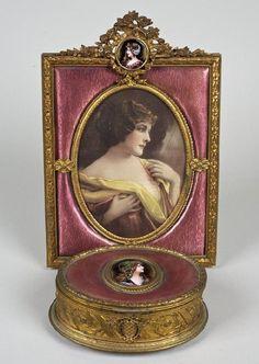 gilt bronze box | 3245: French gilt bronze, Limoges enamel box and frame