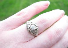 Art Deco Diamond Engagement Ring Super Fiery Fine Quality Old