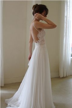 Embroidery and Flowing Wedding Dress