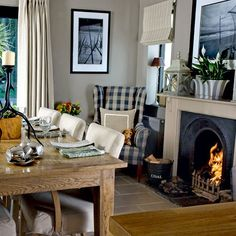 dining room with roaring fire step inside a cosy fishermans cottage in the highlands - Country Cottage Dining Room Ideas