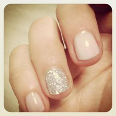 nude nail polish + one glittered nail
