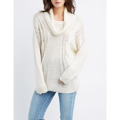 Charlotte Russe Cable Knit Cowl Neck Sweater ($18) ❤ liked on Polyvore featuring tops, sweaters, ivory, white sweater, white turtleneck, white turtleneck sweater, cowl neck pullover and ribbed turtleneck sweaters