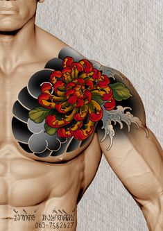 I honestly adore the pigments, outlines, and detail. This is an exceptional layout if you want inspiration for a Chest Tattoo Japanese, Japanese Flower Tattoo, Japanese Tattoo Designs, Japanese Sleeve Tattoos, Feather Tattoos, Flower Tattoos, Body Tattoos, Hand Tattoos, Full Hand Tattoo