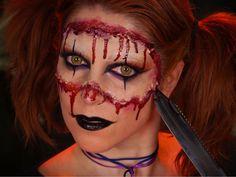 Maquillage Halloween Harley Quinn version horrifique / Halloween makeup look Harley Quinn