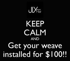 Until March 1 2013, all new clients in the JLX Hair Facebook, Twitter and newsletter community will get a weave install for $100!!! (Toronto Only).
