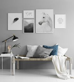 Poster with photo of a horse. Beautiful black and white print with photo art, goes perfectly in a black frame that you can buy with it. We have more stylish prints with black and white photographs in our webshop where we also sell interior design details Typography Prints, Typography Poster, Country Wall Art, Foto Poster, Horse Posters, Frame Light, Clean Design, Wood Print, Picture Wall