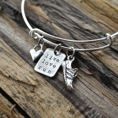 Live Love Run Expandable Bracelet w/ Running Shoe and Sterling Silver – afflatus designs