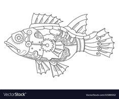 Illustration about Steampunk style fish. Illustration of black, minimalistic, steampunk - 90540696 Moda Steampunk, Steampunk Design, Steampunk Fashion, Fish Drawings, Animal Drawings, Steampunk Drawing, Steampunk Animals, Tattoo Flash Sheet, Sea Life Art