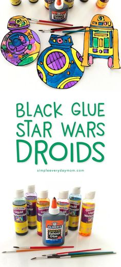 Easy Black Glue & Watercolor Star Wars Craft Idea | Download your free printable droid template which include BB-8, BB-9E and R2D2. Boys and girls will love this fun art project for kids! #starwarscrafts #blackglue #kidsart