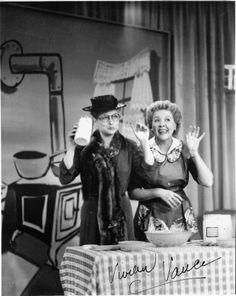 """Lucy and Ethel....remember this episode where they went on TV to promote and sell Lucy's recipe for """"Aunt Martha's Old Fashion Salad Dressing""""."""