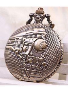 Huismerk Bronze Ketting Zakhorloge Stoomtrein Patroon