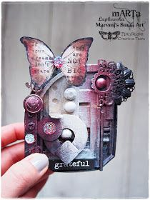 Mixed-media art, art journaling and scrapbooking by polish artist and teacher Anna Dabrowska aka Finnabair. Mixed Media Cards, Mixed Media Journal, Altered Canvas, Altered Art, Butterfly Project, Christmas Arts And Crafts, Mixed Media Scrapbooking, Butterfly Cards, Artist Trading Cards