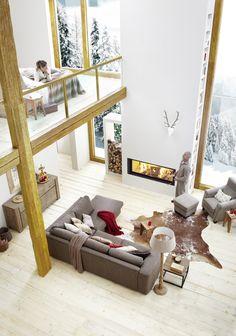 panoramaverglasung / ablesbarkeit dachkonstruktion - kleine villa, Innenarchitektur ideen