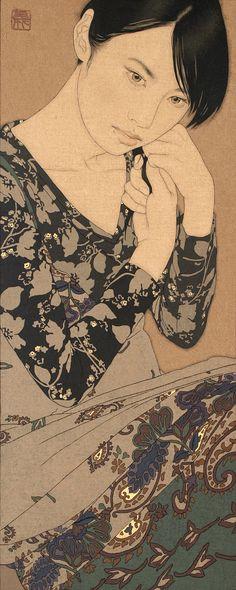 "By IKENAGA YASUNARI _ Contemporary Japanese Artist Yasunari Ikenaga creates his art by dropping Japanese paints into the canvas that he calls ""linen cloth"", with a Menso brush. Geisha, Art Amour, Art Occidental, Art Chinois, Art Asiatique, Art Japonais, Japanese Painting, Japan Art, Japanese Artists"