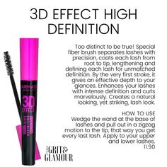 Farmasi Effect High Definition Mascara, Too distinct to be true! Special fiber brush separates lashes with precision, coats each lash from root to tip, lengthening and defining each lash for. 3d Mascara, Waterproof Mascara, Farmasi Cosmetics, Polyvinyl Alcohol, Bombshell Beauty, Lower Lashes, One Stroke, Beauty Consultant, Clean Beauty