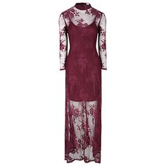 Buy True Decadence Sheer Split Maxi Dress, Burgundy Online at johnlewis.com