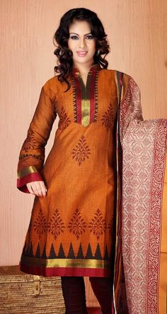 $42.44 Orange Printed Cotton Churidar Salwar Kameez 26149