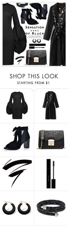 """""""Mission Monochrome: All-Black Outfit"""" by teoecar ❤ liked on Polyvore featuring Vision, Gucci, Palm Beach Jewelry and allblackoutfit"""