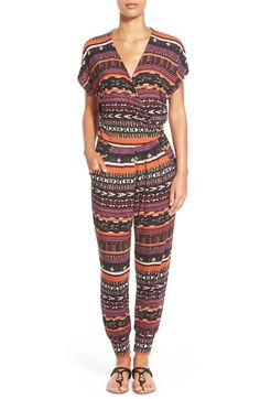Loveappella Short Sleeve Wrap Top Jumpsuit (Regular & Petite) available at #Nordstrom