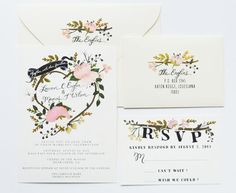 Hand Painted wedding invite from The First Snow. Adorable