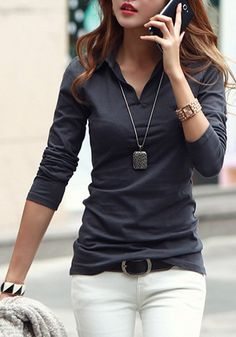 Dark Grey Plain Turndown Collar V-neck Long Sleeve Slim Office Cotton T-Shirt - T-Shirts - Tops