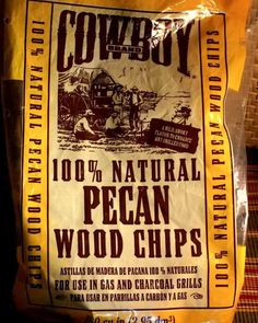 Cowboy Brand Pecan Wood Chips In Yellow and Brown Bag, For Smoking Briskets Best Smoked Brisket Recipe, Smoked Meat Recipes, Rib Recipes, Smoker Recipes, Grilling Recipes, How To Cook Brisket, Bbq Brisket, Smoked Beef Brisket, Cooking With Kids Easy
