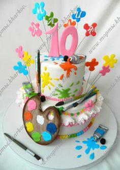 Детский торт для художницы