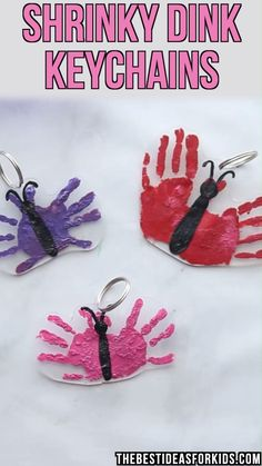 Shrinky Dink Handprint Keychain is part of Easy mother's day crafts - Learn how to make this diy shrinky dink handprint keychain! see how to make this easy Mother's day craft with a stepbystep instruction video Easy Mother's Day Crafts, Cute Kids Crafts, Valentine's Day Crafts For Kids, Animal Crafts For Kids, Valentine Crafts For Kids, Fathers Day Crafts, Baby Crafts, Preschool Crafts, Christmas Crafts