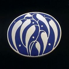 """Josef Hoffmann modern reproduction brooch by the Neue Galerie, New York. """"Hoffmann Brooch, Oval"""". Designed 1910. Gold-plated sterling silver with vitreous enamel. Available in imperial blue or white enamel.  1 1/4 x 1 in."""