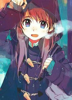 Cute Anime Girl in the rain