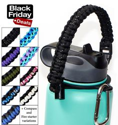 Best Hydro Flask Paracord Handle -WaterFit Paracord Carrier Survival Strap Cord with Safety Ring and Carabiner for Hydro Flask Nalgene CamelBak Wide Mouth Water Bottles 12oz - 64 oz ** Continue to the product at the image link.