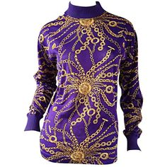 Preowned Celine Purple + Gold Long Sleeve Vintage Cotton Top Blouse W/... ($550) ❤ liked on Polyvore featuring tops, blouses, purple, collar blouse, vintage print blouse, long sleeve tops, michael kors and purple blouse