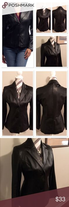 Vintage Black Leather Jacket 🎉HP🎉 Excellent condition blazer style black leather jacket!  Bust 15 in. Length 24 in. Sleeves 22 in long. Outer shell 100% leather. Lining 100% polyester. Dry clean by a leather professional only! Pockets on side. 🎉Host Pick Total Trendsetter🎉@icaton check out her fabulous closet!! pelle studio Jackets & Coats