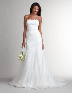 THEIA Strapless Lace Mermaid Gown With Organza Skirt
