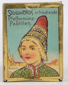 Stollwerck peppermint pastille tin with girl in Russian national dress