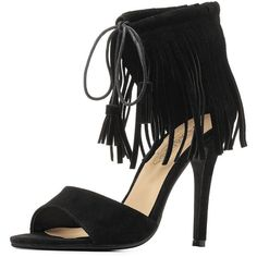 Charlotte Russe Black Tassel-Tied Fringe Ankle Cuff Heels by Charlotte... ($36) ❤ liked on Polyvore featuring shoes, black shoes, dangling shoes, stilettos shoes, bohemian shoes and fringe shoes