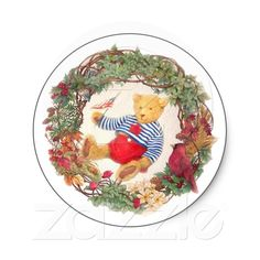 PATRIOTIC TEDDY BEAR HOLIDAY WREATH ROUND STICKER from Zazzle.com