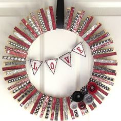 Ribbons & Glue: Craft for a Cause... Valentines Clothes Pin Wreath
