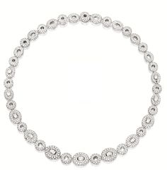 DIAMOND NECKLACE, BOUCHERON.  The necklace composed of alternating oval and circular links of bombé form, set with circular-cut and oval diamonds together weighing approximately 15.60 carats, mounted in 18 karat white gold, length approximately 390mm, signed and numbered P56070.