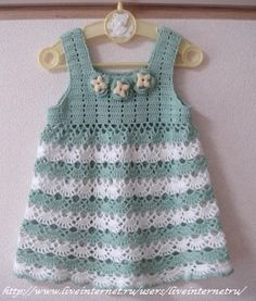 Divino vestidito para bebé t ejido en dos tonos tan lindos que lo hace súper delicado:) Ideal para combinar restos de materiales al te...