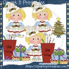 Chubby Elf Girl Curly Blonde- #Clipart #ResellableClipart #Christmas #Presents #Gifts #Girls #Elf #Elves #WrappingPaper #Bows #ChristmasTree #Star #Decorations