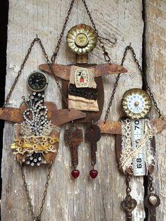 muñecos adorno Assemblage dolls. Jeanette Janson.