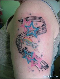 music, notes, stars. tattoo