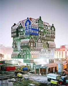 the marvelous Hotel Inntel in Zaandam, the Netherlands being constructed. Neo-traditional architecture at its best.