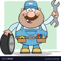 Smiling Mechanic Cartoon vector image on VectorStock Cartoon People, Cartoon Pics, Clipart Gallery, Stick Figures, Baby Shower Parties, Animal Shelter, Coloring Pages, Cute Animals