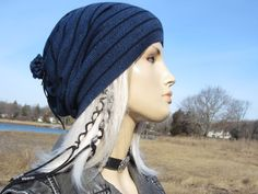 c508ff7340f47 BOHO Clothing Tie Top Slouchy Beanie Light Weight Italian Merino Wool  Unique Slouch Hat Royal Blue Striped for Women A1794