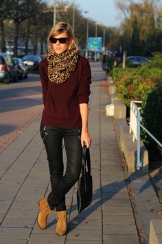 COS burgundy sweater, 7 For All Mankind jeans, Sacha boots, H Scarf, Jil Sander sunglasses, H scarf, lott gioielli bracelet, Natan bag