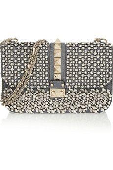 Valentino Embellished leather shoulder bag