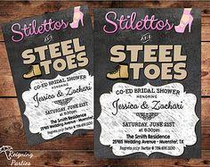 Co Ed Bridal Shower | Co-ed Wedding Shower Invitation - S tilettos & Steel Toes - Bridal ...